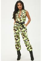 Sleeveless Camo Print Jumpsuit