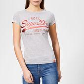 Superdry Women's Vintage Logo Cny Emboss Foil Entry T-shirt - Grey Marl - Uk 8 - Grey