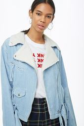 Faux Shearling-collar Corduroy Moto Jacket