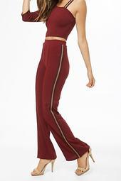 Striped-trim Straight-leg Pants