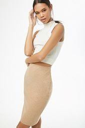 Brushed Knit Pencil Skirt