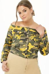 Plus Size Camo Off-the-shoulder Denim Jacket