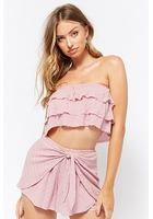 Checkered Tiered Linen-blend Crop Top & Tie-front Short Set