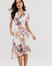Vestido Midi Con Estampado Floral Y Diseño Cruzado De Y.a.s