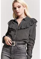 Pinstripe Ruffle-trim Shirt