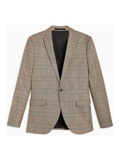 Stone Super Skinny Fit Check Single Breasted Blazer With Peak Lapels