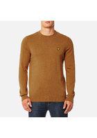 Lyle & Scott Men's Crew Neck Cotton Merino Jumper - Dark Gold Marl - S - Orange