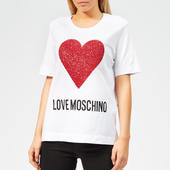 Love Moschino Women's Heart Logo T-shirt - White - It 38/uk 6 - White