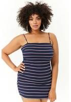 Plus Size Tie-back Striped Mini Dress