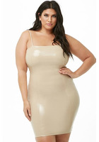 Plus Size Faux Patent Leather Bodycon Dress