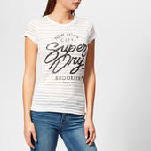 Superdry Women's Nyc Burnout Stripe Entry T-shirt - Optic - Uk 8 - White