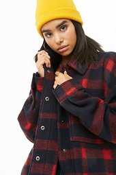 Brushed Snap-button Plaid Coat
