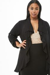 Plus Size Ruffled Duster Jacket