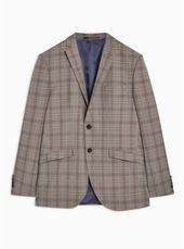 Selected Homme Grey Slim Fit Check Single Breasted Blazer With Notch Lapels