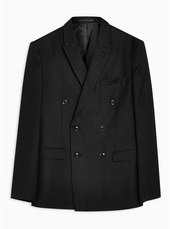 Black Slim Fit Textured Double Breasted Blazer With Peak Lapels