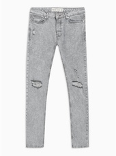 Grey Acid Ripped Jeans