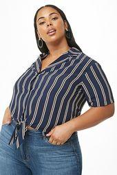 Plus Size Striped Tie-hem Shirt