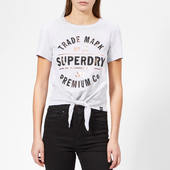 Superdry Women's Premium Co 23 Knot Front T-shirt - Ice Marl - Uk 12 - Grey