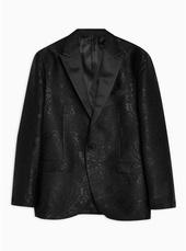Black Jacquard Skinny Blazer