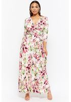 Plus Size Floral Surplice Maxi Dress
