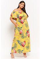 Plus Size Floral Chain Print Off-the-shoulder Maxi Dress