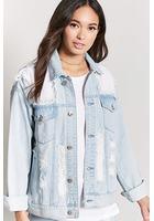 Distressed Mesh-paneled Denim Jacket