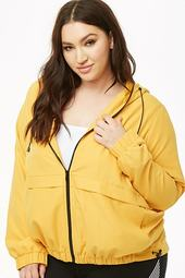 Plus Size Hooded Zip-front Jacket