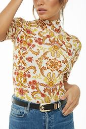 Floral Print Mock Neck Bodysuit