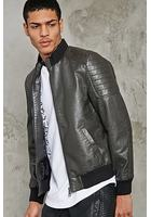 Ribbed High-neck Bomber Jacket