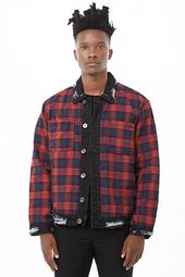 American Stitch Distressed Plaid Denim Jacket