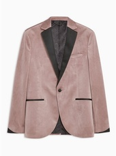 Pink Skinny Fit Single Breasted Velvet Blazer With Satin Covered Notch Lapels