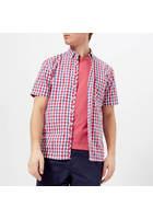 Joules Men's Wilson Short Sleeve Shirt - Navy Pink Gingham - S - Multi