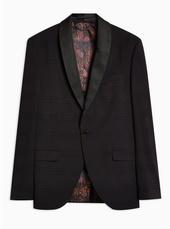 Black Check Skinny Tuxedo Blazer