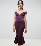 Vestido Midi Con Escote Bardot Y Costuras De Asos Design Tall