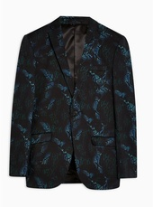 Blue Skinny Fit Snake Print Single Breasted Blazer With Notch Lapels