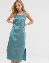 Vestido Midi De Satén Con Detalle Transparente De Y.a.s