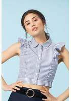 Pinstriped Ruffle Shirt