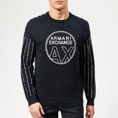 Armani Exchange Men's Logo Knit Jumper - Navy/white - S - Blue