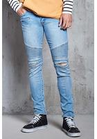 Distressed Slim-fit Moto Jeans