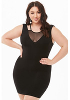 Plus Size Sheer Mesh Insert Bodycon Dress