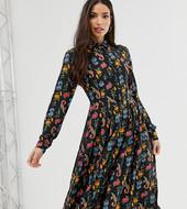 Vestido Camisero Midi Con Falda Plisada En Floral Con Pájaros De Glamorous Tall