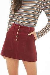 Faux Suede Button-front Mini Skirt