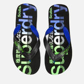 Superdry Men's Scuba Faded Logo Flip Flops - Black/cobalt/fluro Green - S/uk 6-7 - Black