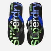 Superdry Men's Scuba Faded Logo Flip Flops - Black/cobalt/fluro Green - S/uk 6-7 - Black
