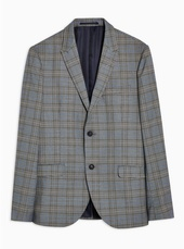 Grey Skinny Fit Check Single Breasted Blazer With Peak Lapels