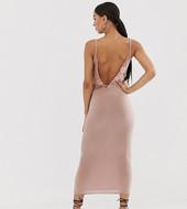 Vestido Midi Ceñido Con Espalda De Encaje En Tono Rubor De Missguided