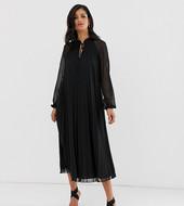 Vestido Midi De Corte Trapecio Con Pliegues Y Lazada En El Cuello De Asos Design Tall