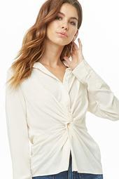 Split-hem Twist-front Shirt