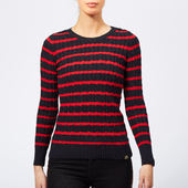 Superdry Women's Croyde Bay Cable Knit Jumper - Navy/red Stripe - Uk 8 - Blue