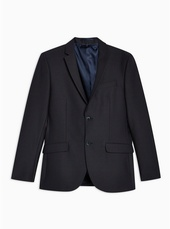Navy Skinny Fit Check Single Breasted Blazer With Notch Lapels